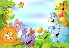 Cartoon animals, cheerful background Royalty Free Stock Photography