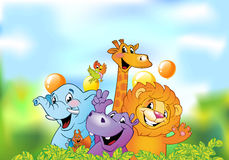 Cartoon animals, cheerful background Royalty Free Stock Image