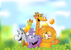 Cartoon animals, cheerful background Stock Images