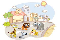 Cartoon animals on city streets Royalty Free Stock Photo