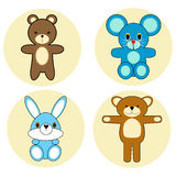 Cartoon animals collection on beige round base Royalty Free Stock Photo