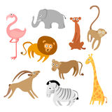 Cartoon animals. Collection of cute cartoons of various african animals Royalty Free Stock Photography