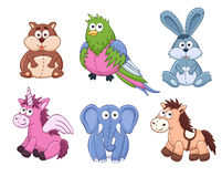 Cartoon animals collection. Cute cartoon animals isolated on white background. Stuffed toys set. Vector illustration of adorable plush baby animals. Crocodile Royalty Free Stock Photos
