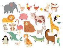 Cartoon animals. Cute elephant and lion, giraffe and crocodile, cow and chicken, dog and cat. Farm and savanna animals vector illustration