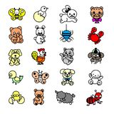 Cartoon animals. Cute elephant and lion, giraffe and crocodile, cow and chicken, dog and cat. Farm and savanna animals  set royalty free illustration
