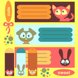 Cartoon animals decorative elements Stock Image