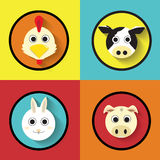 Cartoon Animals Farm Flat Icon Vector vector illustration