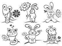 Cartoon animals with flowers Stock Images