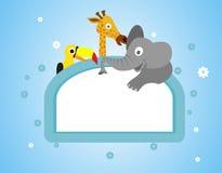 Cartoon animals frame background Royalty Free Stock Photography