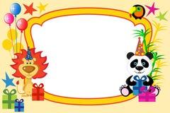 Cartoon animals frame. On the birthday Royalty Free Stock Photo