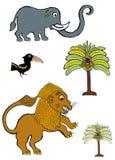 Cartoon animals of ghana royalty free stock photography