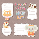 Cartoon animals greeting cards Royalty Free Stock Images