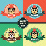 Cartoon Animals Head Label Vector Royalty Free Stock Photos