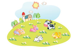 Cartoon animals in the home garden Royalty Free Stock Photos