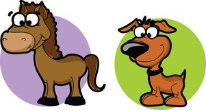 Cartoon animals - horse and dog.vector Royalty Free Stock Images