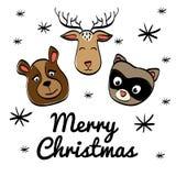 Cartoon animals icon set. Merry Christmas. vector graphic Stock Photos