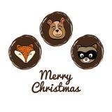 Cartoon animals icon set. Merry Christmas. vector graphic Stock Photography