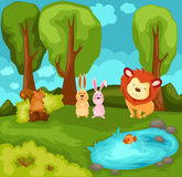 Cartoon animals in the jungle stock illustration
