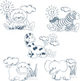 Cartoon animals jungle set outline. Ideal for babies, child decoration, cards, story books and others. This file is available in s for unlimited resizes Royalty Free Stock Images