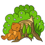 Cartoon animals for kids. Little cute baby bear sleeps. Cartoon animals for kids. Little cute baby bear sleeps near the stump Royalty Free Stock Photo