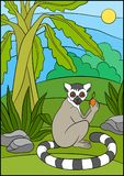 Cartoon animals for kids. Little cute lemur with fruit. Cartoon animals for kids. Little cute lemur holds a fruit in his hand and smiles Royalty Free Stock Images