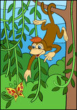 Cartoon animals for kids. Little cute monkey. Royalty Free Stock Photography