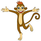 Cartoon animals for kids. Little cute monkey runs and waves Royalty Free Stock Photos