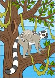 Cartoon animals for kids. Mother lemur with her baby. Cartoon animals for kids. Mother lemur stands on the tree branch with her little cute baby and smiles Stock Photography