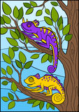 Cartoon animals for kids. Two little cute chameleons. Royalty Free Stock Images