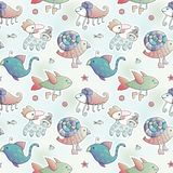 Cartoon animals. Kids wallpaper. Mythic animals. Colorful vector pattern with animals. Wallpaper for kids stock illustration