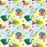 Cartoon animals. Kids wallpaper. Mythic animals. Colorful vector pattern with animals. Wallpaper for kids royalty free illustration
