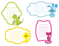 Cartoon Animals label Set Stock Photos
