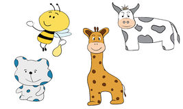 Cartoon animals little bee bear giraffe and cow. On a white background royalty free illustration