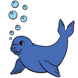 Cartoon animals. Little cute baby seal swims. Cartoon animals. Little cute baby seal swims and smiles Royalty Free Stock Photography