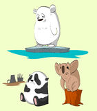 Cartoon animals losing their homes. Colorful vector illustration of endangered animals losing their homes. Polar bear, panda and a koala Royalty Free Stock Images