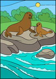 Cartoon animals. Mother fur seal with her little cute baby. Cartoon animals. Mother fur seal with her little cute baby lay on the rock near the ocean Stock Photo