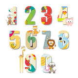 Cartoon animals numbers set with white background. Vector. Royalty Free Stock Photos