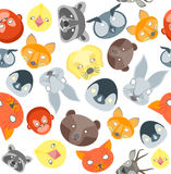 Cartoon Animals Party Mask Background Pattern. Vector Stock Image