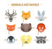 Cartoon Animals Party Mask Set for Kid. Vector Royalty Free Stock Photos
