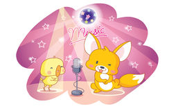 Cartoon animals party and singing Royalty Free Stock Images