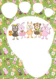 Cartoon Animals Pattern Card_eps stock illustration
