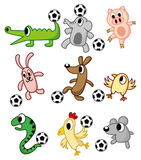 Cartoon animals play soccer. Vector drawing Stock Images