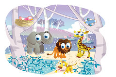 Cartoon animals playing in a beautiful garden Royalty Free Stock Photo
