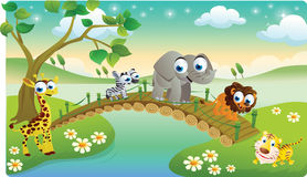 Cartoon animals playing with beautiful scenery. Cute cartoon animals playing with beautiful scenery Royalty Free Stock Images