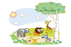 Cartoon animals playing in the garden Stock Image