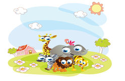 Cartoon animals posing in the summer Royalty Free Stock Image