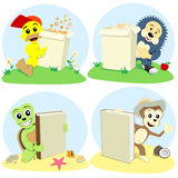 Cartoon animals represent. The cartoon animals represent book and paper box for cornflake Stock Image