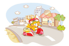 Cartoon animals riding motorcycle Stock Image