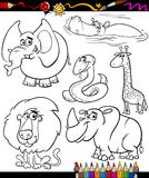Cartoon animals set for coloring book Royalty Free Stock Image