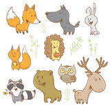 Cartoon animals set. Cute cartoon forest animals set. Funny fox, wolf, squirrel, hare, raccoon, owl and deer. Different plants. Vector image. Children's Stock Image